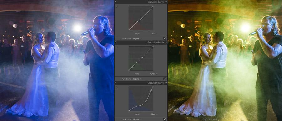 Die RGB-Kanäle in der Punktkurve von Lightroom helfen beim LED Licht auf der Tanzfläche