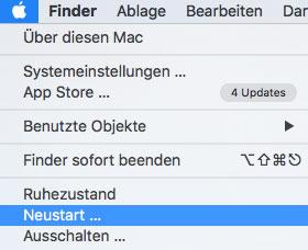 menu mac neustarten