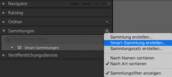 smart-sammlung erstellen in lightroom